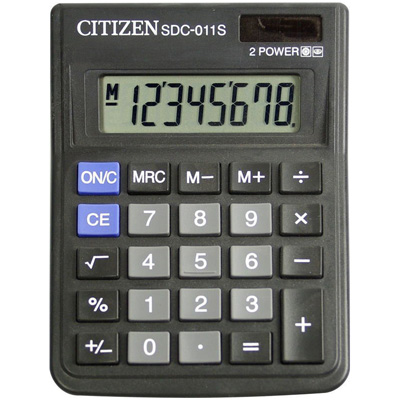 Калькулятор настольный CITIZEN бухг. SDC-011S 8 разряд. Dual Power